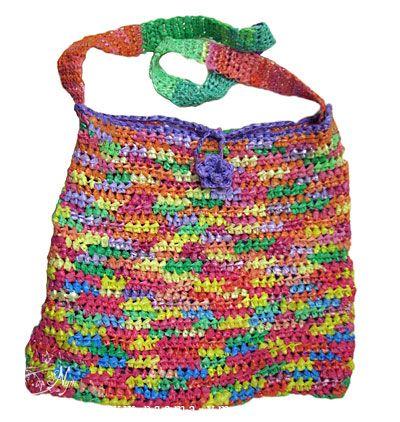 תיק צבעוני סרוג משקיות ניילון