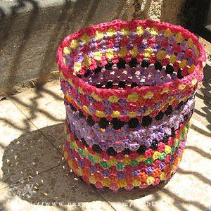 סל סרוג משקיות פלסטיק
